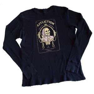 AFFLICTION distressed black thermal skull t-shirt